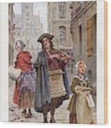 French Street Musicians -  Fiddler Wood Print