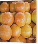 Fresh Oranges On A Street Fair In Brazil Wood Print by Ricardo Lisboa