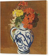 Geraniums And Other Flowers In A Stoneware Vase Wood Print