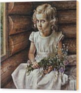 Girl With Wild Flowers Wood Print