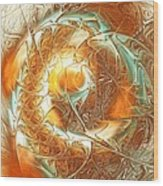 Golden Splash Wood Print