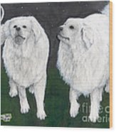 Great Pyrenees Dogs Night Sky Cathy Peek Animal Art Wood Print