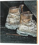 His Work Boots Wood Print