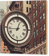 Historic Clock Of The Fifth Avenue Wood Print