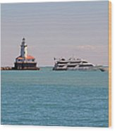 Historical Chicago Harbor Light Wood Print by Christine Till