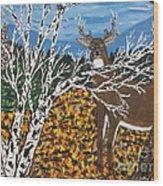 Hunter's Deer Camp Wood Print