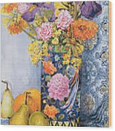 Iris And Pinks In A Japanese Vase With Pears Wood Print
