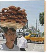 Istanbul Kulouria Seller Wood Print