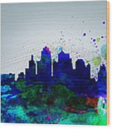 Kansas City Watercolor Skyline Wood Print