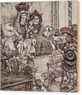 Knave Before The King And Queen Of Hearts Illustration To Alice S Adventures In Wonderland Wood Print