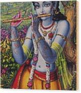 Krishna With Flute  Wood Print by Vrindavan Das