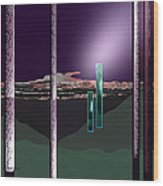 076 - Landscape With Columns And Two Monoliths  Wood Print
