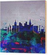 Las Vegas Watercolor Skyline Wood Print