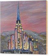 Latter Day Saints Rexburg Mormon Temple Rexburg Idaho Wood Print