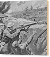 Lewis Gun In The British Trenches Wood Print