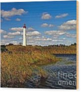 Lighthouse At The Water Wood Print