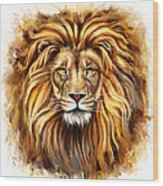 Lion Head In Front Wood Print