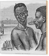 Lip-rings Of Two African  Native Women Wood Print