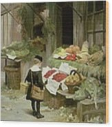 Little Boy At The Market Wood Print