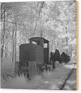 Locomotive With Wagons In Infrared Light In The Forest In Netherlands Wood Print by Ronald Jansen