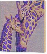 Loving Purple Giraffes Wood Print