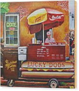 Lucky Dog Man In The Quarter Wood Print by Terry J Marks Sr