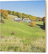 Maine Farm On Side Of Hill In Autumn Wood Print
