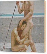 Original Man Body Oil Painting  Gay Art -two Male Nude By The Sea Wood Print