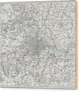 Map Of London And Environs Wood Print