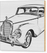 Mercedes Benz 300 Luxury Car Drawing Wood Print