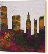 Miami City Skyline Wood Print