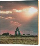 Midley Church Ruins At Sunset Wood Print