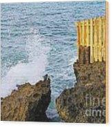 Negril Sea Splash Wood Print