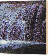 Neon Falls Wood Print