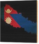 Nepal Outline Map With Grunge Flag Wood Print