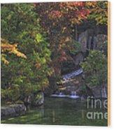 Nishinomiya Japanese Garden - Waterfall Wood Print