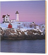 Nubble Light Under A Pastel Winter Sky Wood Print