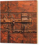 Old Door And Lock Rome Italy Wood Print