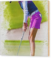 Paula Creamer Putts The Ball On The Fourth Green Wood Print