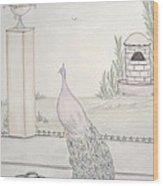 Peacock In An Italian Landscape Wood Print by Christine Corretti