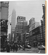 Pedestrians Crossing Crosswalk Outside Macys 7th Avenue And 34th Street Entrance New York City Wood Print