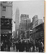 Pedestrians Crossing Crosswalk Outside Macys 7th Avenue And 34th Street Entrance New York Winter Wood Print