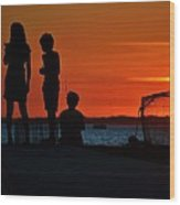 Perfect Ending - 3 Friends On A Pier As The Hot Summer Sun Sets On The Indian River Bay Wood Print
