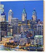 Philadelphia Skyline At Night Evening Panorama Wood Print