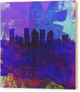 Phoenix Watercolor Skyline 1 Wood Print