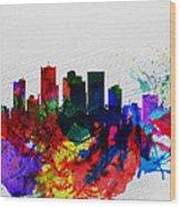 Phoenix Watercolor Skyline 2 Wood Print