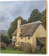Picturesque Thatched Roof Cottage In Selworthy Wood Print