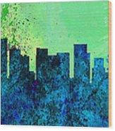 Portland City Skyline Wood Print