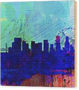 Portland Watercolor Skyline Wood Print