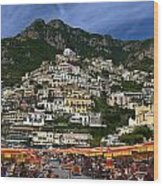 Positano Crowded Beach Wood Print